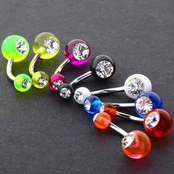 transparent acrylic belly ring  clear crystal double gem mix colors navel bar body piercing jewelry bell button rings 10pcs/lots
