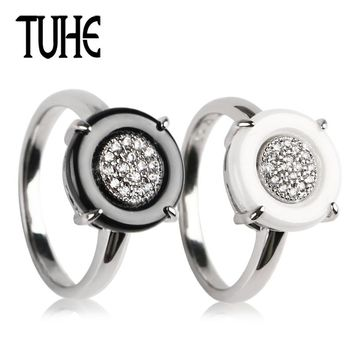 TUHE Fashion 2mm Ceramic Rings Big Round Ceramic With Bling Crystal Wedding Engagement Party Jewelry Women Girlfriend Lover Gift