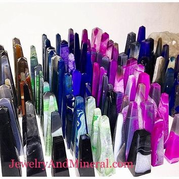 Agate crystal obelisk- brazilian agate point obelisk scrying metaphysical crystal obelisk crystal point healing crystals
