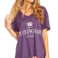 Purple Crown Born At Buckingham Palace Printed V-neck T-shirt