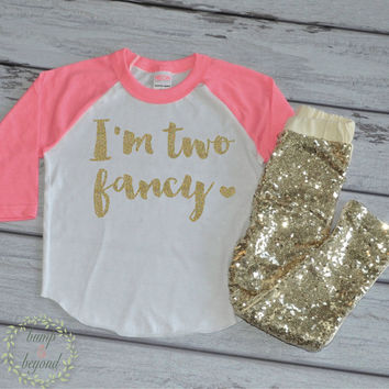 2nd Birthday Outfit Girls Birthday Shirt I'm Two Fancy Shirt Pink and Gold Birthday Toddler Birthday Party Outfit Set with Pants 137