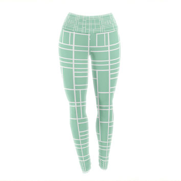 "Project M ""Map Outline Mint"" Geometric Lines Yoga Leggings"