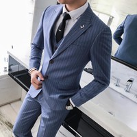 Men's Business Stripe Suit In 3 Colors Up to Size 4XL