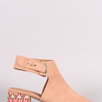 Suede Embroidery Mule Blocked Heel | UrbanOG