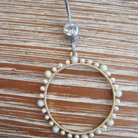 Belly Button Ring - Body Jewelry - Pearl and White Stone Hoop with Clear Gem Stone Belly Button Ring