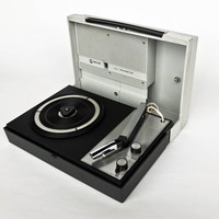 Vintage Record Player / Portable Phillips All Transistor  Turntable  / Retro Space Age 70's Vinyl Player / Grey