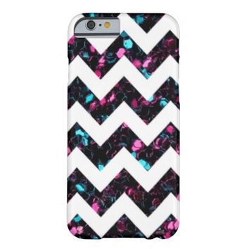 Sparkly pink blue mosaic + White Chevron iPhone 6 case by PLdesign