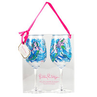 Lilly Pulitzer Wine Glass Set- Nice Tail