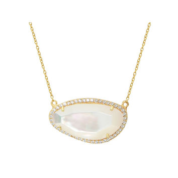 Fronay Co Gold Plated Sterling Silver Mother of Pearl Slice Pendant Necklace, 16""