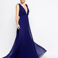ASOS | ASOS Deep Plunge Super Full Pleated Maxi Dress at ASOS