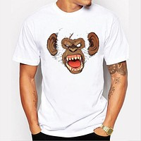 3D men's clothing summer hip hop o-neck angry white monkey print short sleeve cotton T-shirt
