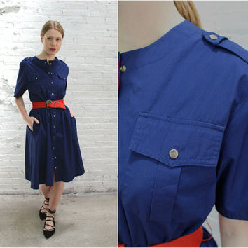 80s blue button front duster dress / short sleeve blue snap button up cinched waist Jorache dress / Rosie the Riveter