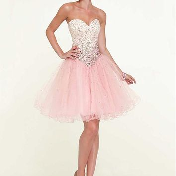 [106.99] Chic Tulle Sweetheart Neckline Knee-length A-line Homecoming Dress - dressilyme.com