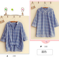 Windowpane Check Blouse