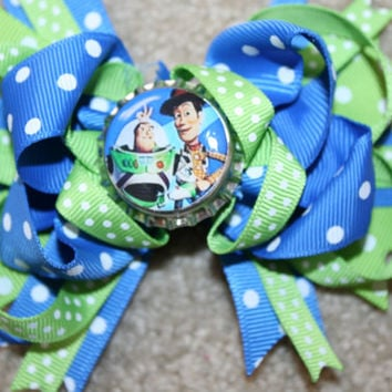 Buzz Lightyear and Woody from Disney Toy Story Custom Boutique Bottle Cap Hair Bow Clip - blue and lime green polka dots