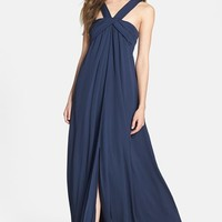 Halston Heritage Pleat Double Layer Georgette Gown | Nordstrom