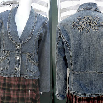 Vintage Denim Embroidered Studded Jacket, 90s Grunge Distressed Denim Jacket Size M