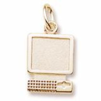 Computer Charm in Yellow Gold Plated