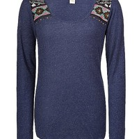 Women's Studded Thermal Top in Blue by Daytrip.