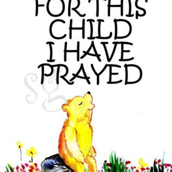 Bible verse, 5 sizes Printable deco,  home decor verses, scripture decals, bear animal woodland, 1 Samuel 1:27, For this child I have prayed