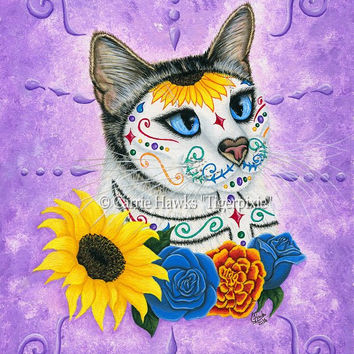 Day of the Dead Cat Art Cat Painting Sunflowers Gothic Mexican Sugar Skull Cat Fantasy Cat Art Print 8x10 Cat Lovers Art