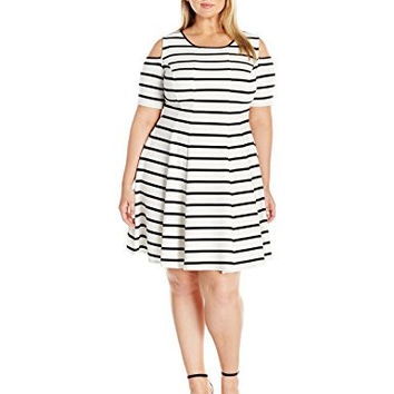 Julian Taylor Women's Plus Size Full Figure Striped Fit and Flare Dress with Cold Shoulders, Black/Ivory, 22W