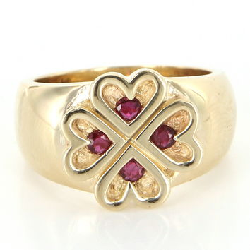 Vintage Ruby 4 Heart Cocktail Band Ring 14 Karat Yellow Gold Estate Fine Jewelry 8.5