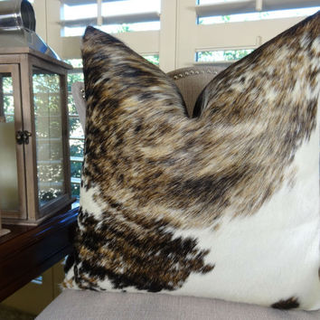 Cowhide Pillow Cover - Dark Tri Color Brown Tan Pearl Decorative Cowhide Pillow - Genuine Brazilian Exotic Cowhide Accent Sofa Pillow 16617