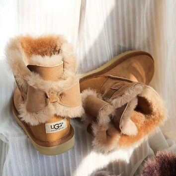 UGG Fashion Winter Women Bowknot Flat Warm Snow Ankle Boots G-1