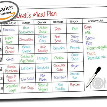 "Calendar Planner ● Dry Erase Vinyl Decal Sticker ● Weekly Planner ● Daily Menu To Do List Tasks Planning & Organization ● Use w/ Dry Erase & Liquid Chalk Markers (1 Included) ● 17"" x 13"" Inches"
