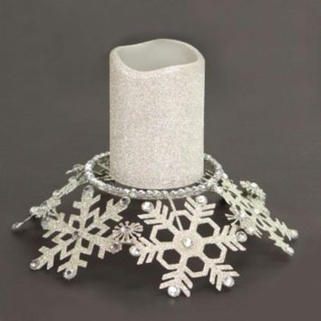 "9"" Silver Snow Drift Snowflake Glittered and Jeweled Pillar Candle Holder"
