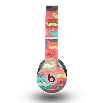 The Vintage Coral and Neon Mustaches Skin for the Beats by Dre Original Solo-Solo HD Headphones