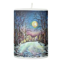 Silent Night Winter Full Moon in Sweden Pillar Candle