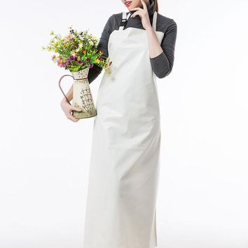 DCCKL72 Long Apron Practical Unisex Adult Outsides Working  Cleaning Apron High Quality PU Waterproof Apron White/Green/Blue Color