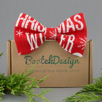 Christmas Bow Tie Holiday Bow Tie for Men Red Bow Tie Mens Bow Tie Womens Bow Tie Snowflake Gift for Men Gift for Grandpa Gift for Father