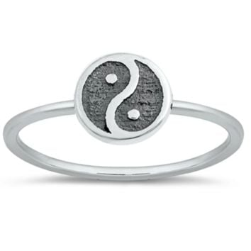 .925 Sterling Silver Yin Yang Ladies Ring Size 4-10 Midi Knuckle Thumb