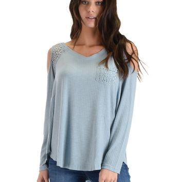 SL3760 Blue Long Sleeve Ribbed Top With Cold Shoulder And Lace Contrast
