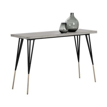 MINDY BRUSHED ANTIQUE BRASS FEET WITH SEALED CONCRETE TOP CONSOLE TABLE