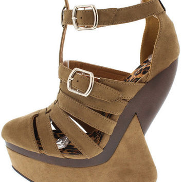 SLEEK04A TAUPE CAGED HEEL LESS CURVED WEDGE