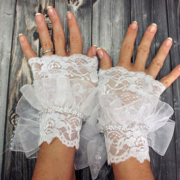 White strechy lace wedding bridal cuff long ribbon gloves, beaded bridal wristlet glovelet, dance costume accessories