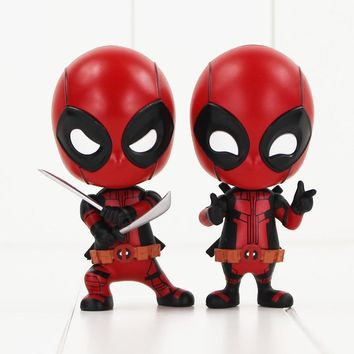 Deadpool Dead pool Taco 10cm  Figure Toy Sword Fighting Version Gesturing Version Bobblehead Model Dolls for Kids AT_70_6
