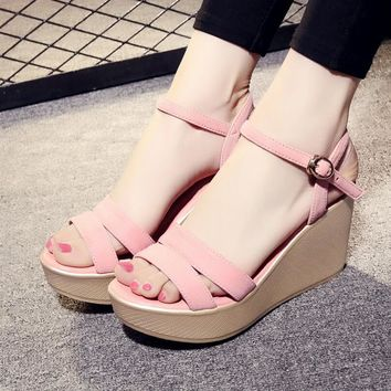 D&Henlu 2018 Shoes Women Sandals Summer Platform Sandals High Heels Sandal Women Basic Sandal Heels Wedge sandalia plataforma