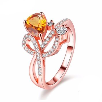 1.3ct Citrine Rose Gold Color Elegant Ring (RESIZABLE)