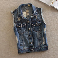 Women's Vintage Studded Ripped Denim Vest Outwear Jacket