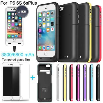 6800 3800mAh External power bank case Power pack Charger Backup Battery Case For iphone 6 6s Plus with USB line Tempered glass