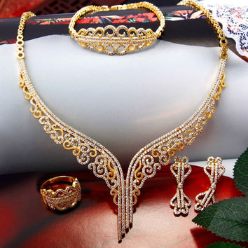 Newest! Superior Quality Romantic Deluxe Wedding Jewelry CZ Stones Fancy Unique Style Gold-color 4 pieces Bridal Jewelry Sets