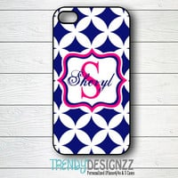 iPhone case, Personalized iPhone case, Samsung S3 S4, iPhone 4 case, iPhone 5 case, , iPhone 4s, Navy Pink Monogram Case, Tough Cover (1225)