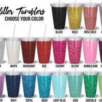 Glitter Tumbler // 16 ounce Double Wall Acrylic Cup and Straw