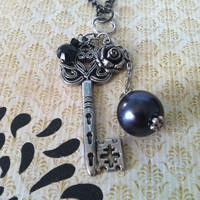 Dark Silver Rose & Key Necklace