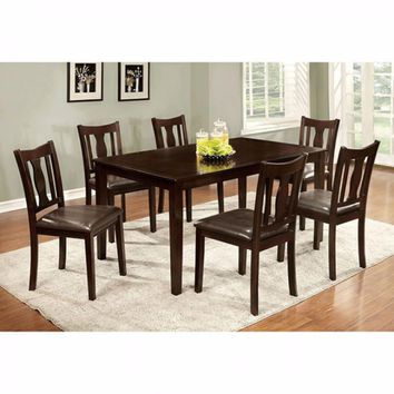 7Pc Dining Table Set Chair with Pu Cushion Espresso Finish-CM3402T-7PK
